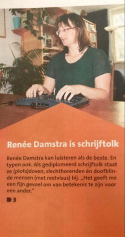 Fragmet van cover Leusder Krant artikel over Tolk & Tekst